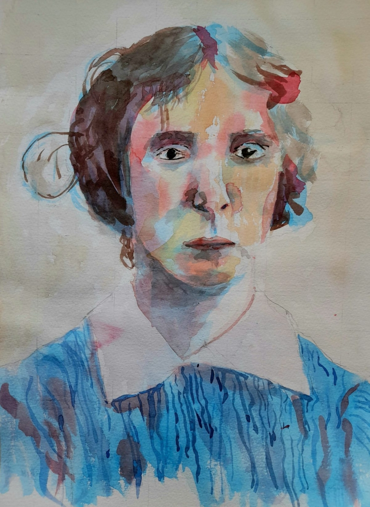 Watercolour painting of Great Aunt Nell around 1912.